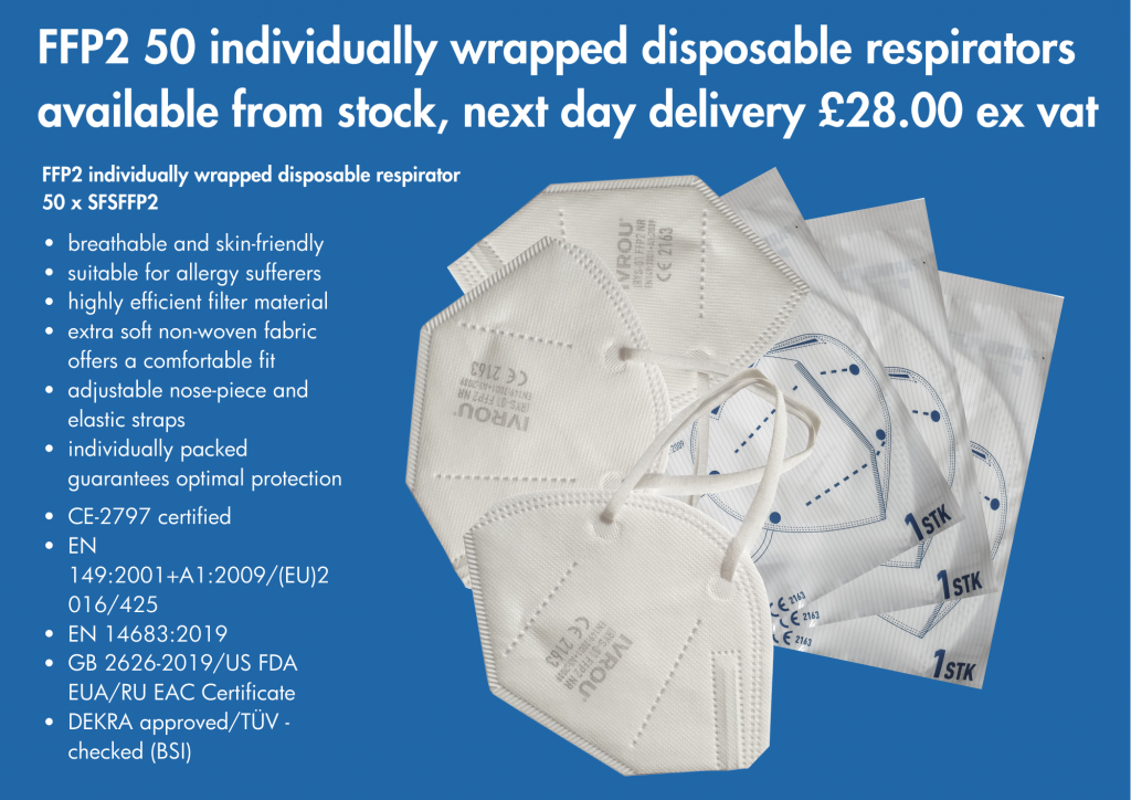 FFP2 individually wrapped disposable respirators ready for next day delivery!! Stainless Finishing Solutions
