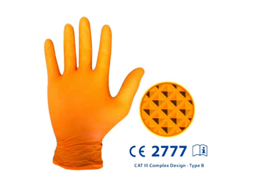 IDEALL Grip cat.3 Nitrile Gloves Orange Large (Pack of 50) Stainless Finishing Solutions