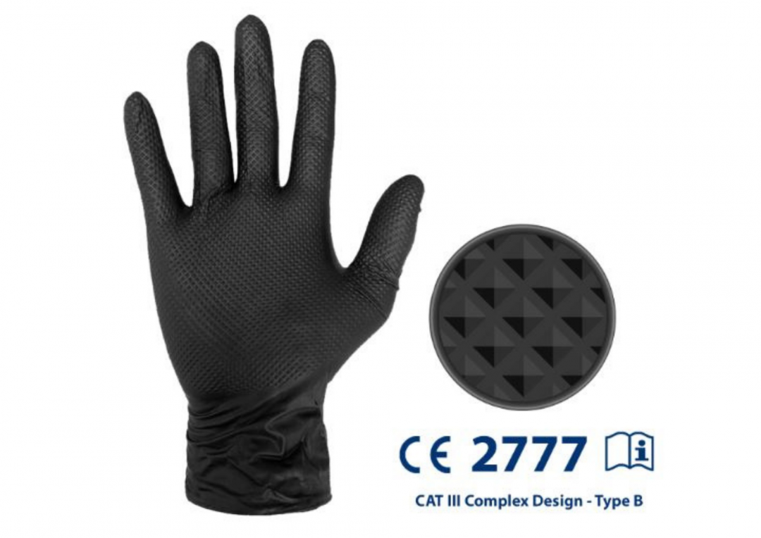 IDEALL Grip cat.3 Nitrile Gloves Black Large (Pack of 50) Stainless Finishing Solutions